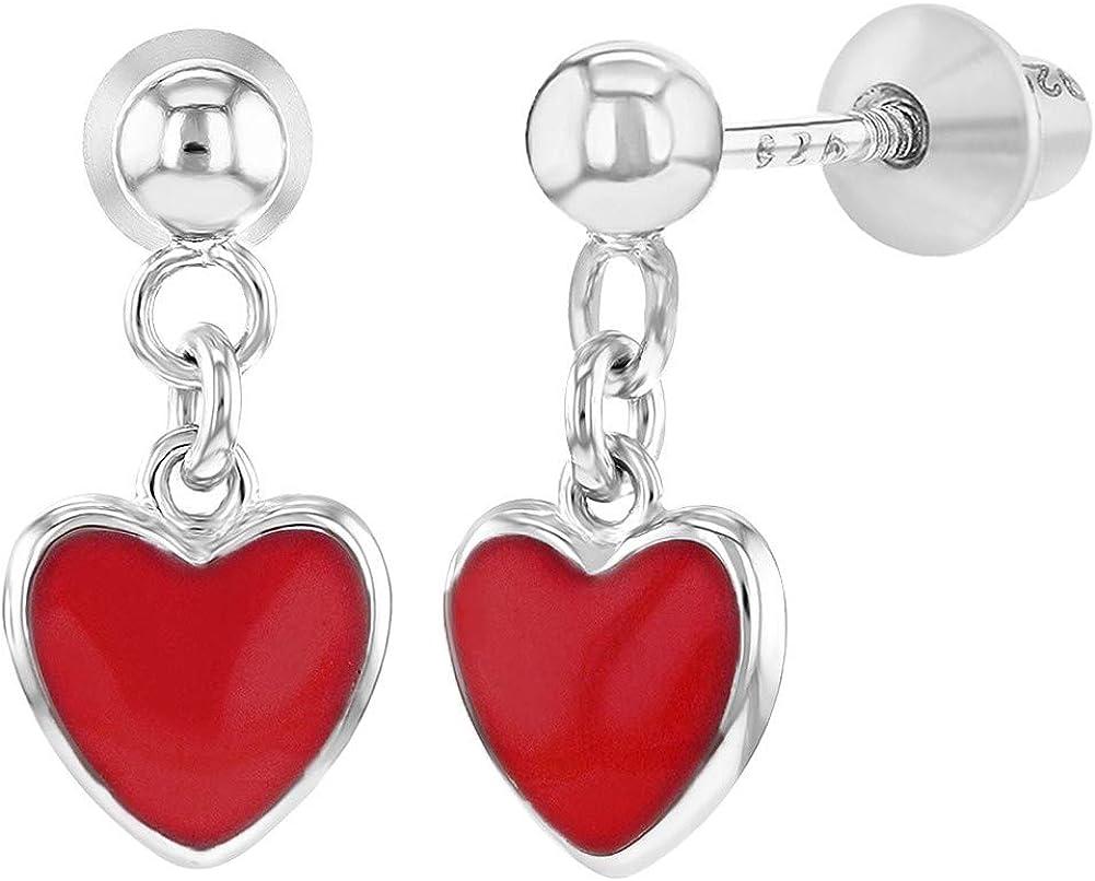925 Sterling Silver Enamel Heart Screw Back Dangle Earrings Girls Teens