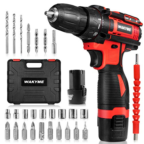 Cordless Drill Driver Kit with 2 Batteries, WAKYME 12.6V Power Drill 30Nm 18+3 Clutch, 3/8″ Keyless Chuck, Variable Speed & Built-in LED Electric Screw Driver for Drilling Wall, Bricks, Wood, Metal