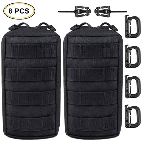 EVERLIT 2-Pack Tactical Molle Pouch with D-Ring Grimloc Locking and Web Dominators