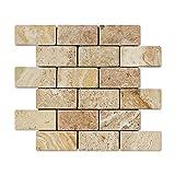 Valencia Travertine 2 X 4 Brick Mosaic Tile, Tumbled (6'' X 6'' Sample)