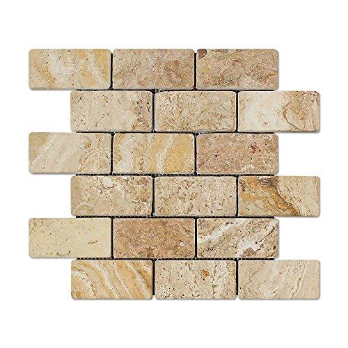 Travertine Pool - Valencia Travertine 2 X 4 Brick Mosaic Tile, Tumbled (6