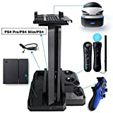 Playstation PS VR Showcase stand- Rapid AC Charge Stand, PS Move Charging Station + PS4 Controller Charger+ PS4 Pro &PS4 Slim &PS4 Vertical stand for Playstation 4 (be fit for 3 kinds of console)