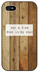 Set a fire down in my soul - Vintage wood effect - Bible verse IPHONE 5C black plastic case / Christian Verses