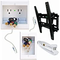 PowerBridge Home Theater Cable Management Solution for Mounting Flat Screen TVs including a TV Mount, Installation Tools, HDMI Cables, and PowerConnect Romex Cables - No Electrician Needed