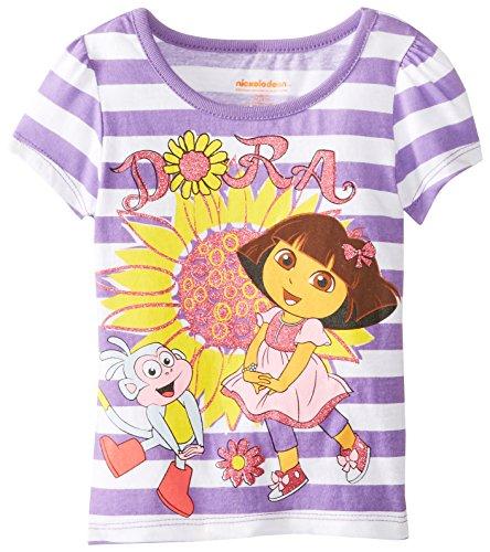 Nickelodeon Little Girls' Dora Stripe Flower Short Sleeve Tee, Purple, 2T