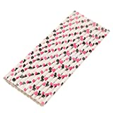 Pink Black Poker 25 Pcs Colorful Poker Paper Straws Drinking Straws For Wedding Birthday Party