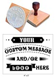 4'' x 5'' Extra Large Custom''Rocker Mount'' Wood Hand Rubber Stamp with Wooden Handle