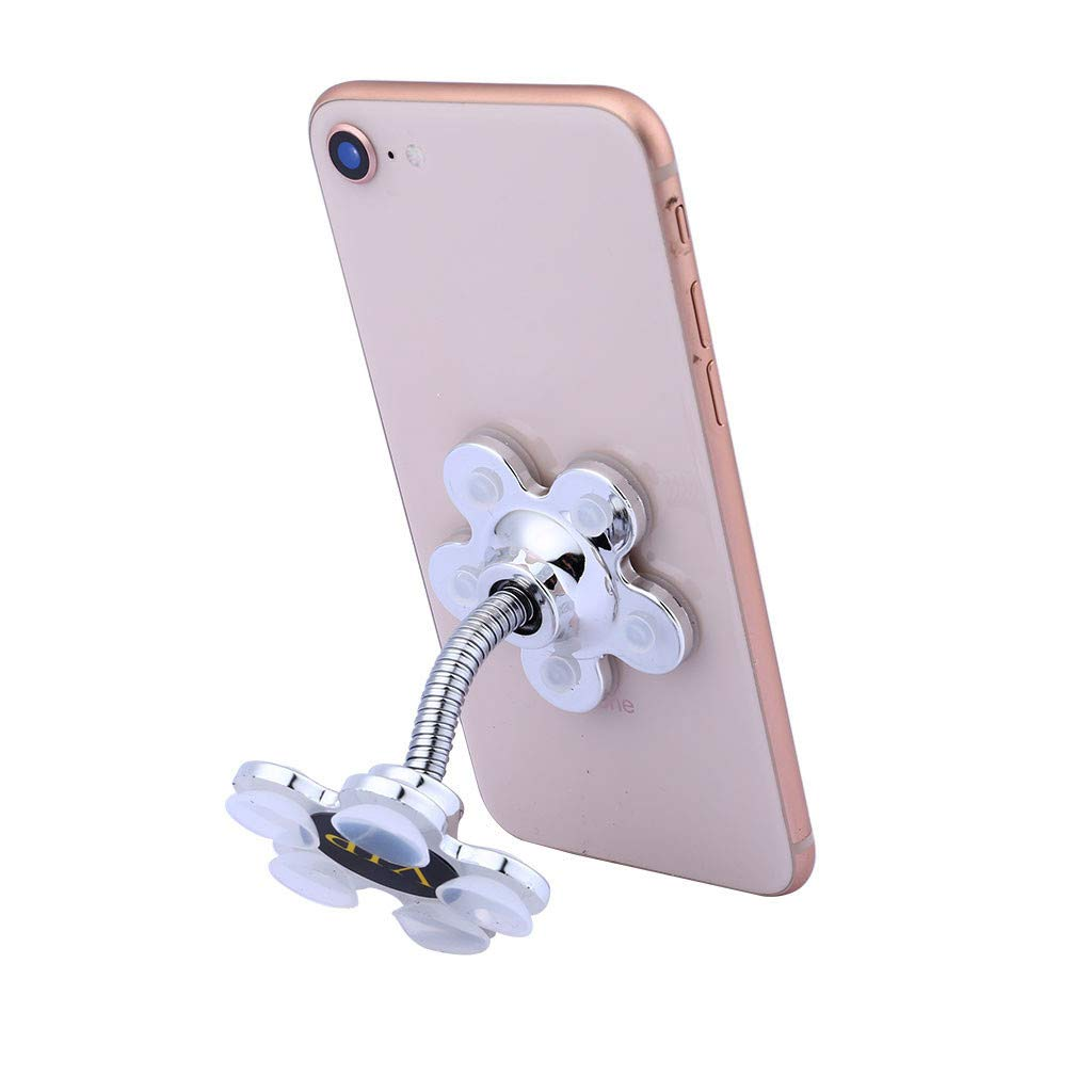 Silver Magic Sucker Cell Phone Holder,DOITGO Creative Mobile Navigation Bracket Universal Sucker Stand Holder 360/° Rotatable Multi-Angle Phone Holder in Kitchen Table Bedside Office Desk