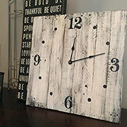 Square White Wall Clock with Distressed Finish, 20 Created With Solid Wood made by Seeka Decor