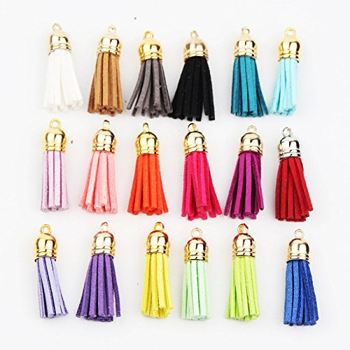 Compact Velo Safe (Gold Head 38mm Leather Tassels Fiber Fringe Suede Tassel for Jewelry Making DIY (50 pcs))