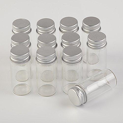 24 UNITS 10ML Mini Glass Bottles With Metal Cap Empty Small Wishing Bottle Glass Vials Jars (24, 10ml)