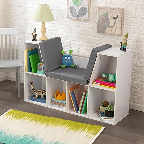 Top Rated Best Seller Child Kids White Wood Comfy Reading Learning Center Nook Furniture With Padded Cushion Seat- Generous Storage Organizer Book Shelves With Room To Grow- Perfect For Bedroom Den - Kid Wood Furniture