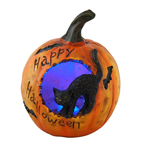 Lighted Color-Changing Pumpkin Halloween Decoration (Black Cat)