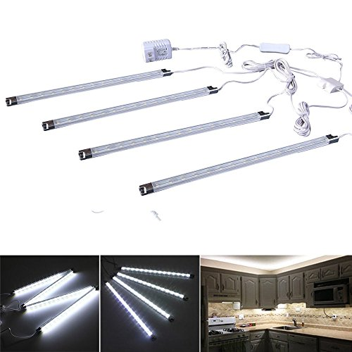 Led Kitchen Lights (Cefrank Set of 4 LED Light Bar - Cool White Under Kitchen Cabinet Led Lamp Energy Saving Under Counter Lighting LED Strip Kit (Cool White))