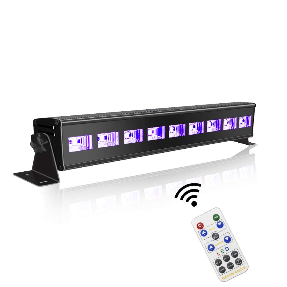 60 ft-Remote UV Black Light for Parties, JLPOW Super Bright 27W Dimmable Sound Activated Black Lights, DMX Control 9 LED UV Bar Blacklight,Best for Glow Dance Party Birthday Wedding DJ Stage Lighting