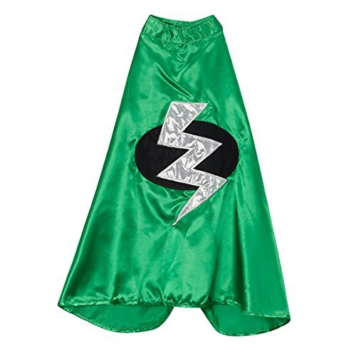 [Kids Green Superhero Lightning Bolt Cape] (Lightning Bolt Costumes)