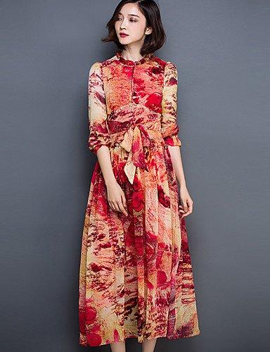 PU&PU Robe Aux femmes Swing Bohème,Imprimé Mao Midi Polyester , fuchsia-2xl , fuchsia-2xl