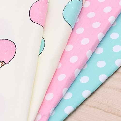 SCASTOE 50x40cm 4pc Ice Cream Printing DIY Craft Sewing Patchwork Artcraft Quilting Cotton Fabric Material