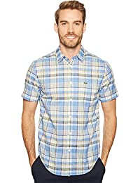 Lacoste Men's Short Sleeve Bold Plaid Madras Regular Fit Woven Shirt