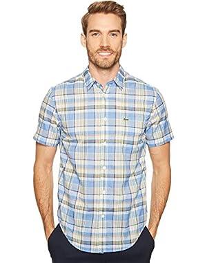 Men's Short Sleeve Bold Plaid Madras Regular Fit Woven Shirt