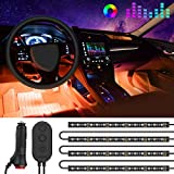 MINGER Interior Car Lights, Waterproof RGB 48 LEDs Car Interior Lights with Controller and DC 12V Charger, 7 Colors Sound Activation, One-Line Design for Easy Install and Hiding