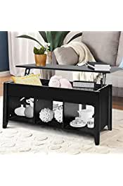 SSLine Lift Top Coffee Table with Hidden Compartment Storage Shelf, Modern Wood Home Living Room Furniture Lift Tabletop Dining Table,Computer Table,Side Table,Living Room Furniture Tea Table (Black)