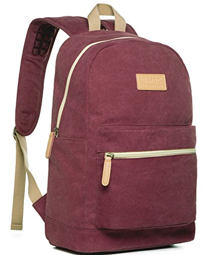 Kinmac Wine Red Canvas Small Size Laptop Backpack with Massa