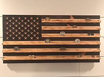 Small Black And White Rustic American Flag Challenge Coin Display