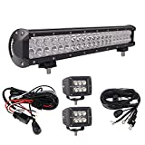 Bangbangche 20'' 126W Flood Spot Combo CREE LED Light Bar, 2X 24W Flood Cree Flush Mount Fog Lights, 2X 10FT Fuse Relay Wiring Harness, Waterproof Super Bright, Jeep Boat Truck Offroad,1 Year Warranty