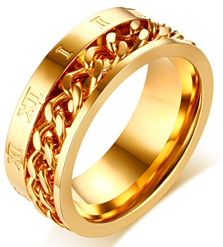 LineAve Men's Stainless Steel Comfort Fit Roman Numerals Anxiety Spinner Ring, Gold Color, 11, ()