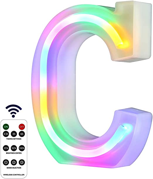 WARMTHOU Newly Upgrade LED Neon Letter Lights Marquee Alphabet Light Up Letters with Remote Control,USB/Battery Powered Light Up Letters for Home Decoration Colourful (RC-C)