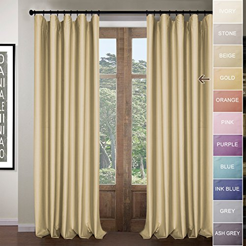 ZY Blinds Thermal Blackout Curtains-Solid Rod Pocket with Hook Belt & Back Tabs Window Curtain Drapery Panel for Living room Bedroom Club Theater Patio Door, Gold, 50