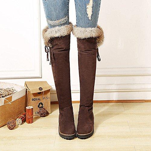 para puntera amarillo Black botas Chunky polipiel casual vestimenta sobre botas invierno moda botas HSXZ de hebilla mujer otoño talón la marrón Zapatos redonda rodilla 0nqUgPBS