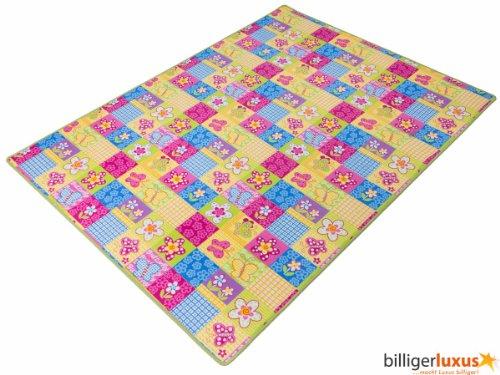 Teppich Kinderteppich Blumen Schmetterling Teppich Patchwork 133 x 180 cm bunt grüne Kettelkante