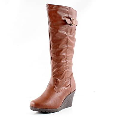 Amazon.com | West Blvd Womens Jakarta Knee High Wedge Riding Boots ...