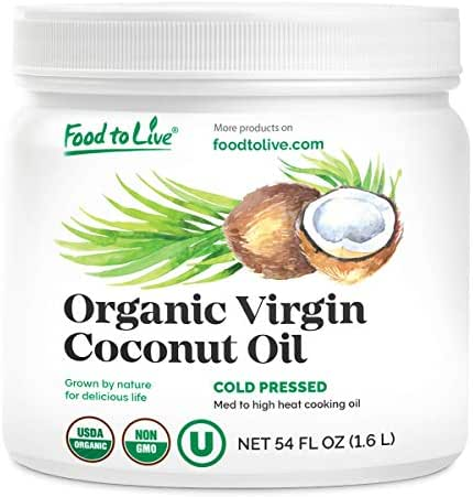 Organic Virgin Coconut Oil, 54 fl oz — Non-GMO, Raw, Pure, Cold-Pressed, Unrefined, Vegan, Bulk, Great for Hair, Skin and Cooking