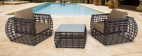Hanover Soho Outdoor Lounge Set (3-Piece) Brown/Beige SOHO3PC