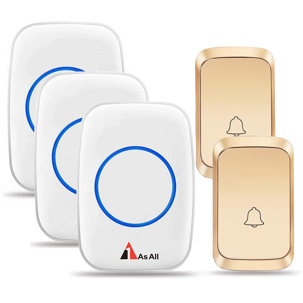 1AsAll Wireless Doorbells kits with 3 Receivers and 2 buttons for home Used for Larger house Area, No Interference,Waterproof Push Botton No Battery Required For Receiver
