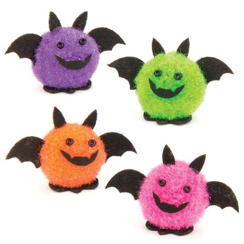 Mini Pom Pom Bats Perfect for Halloween Children's Arts, Crafts and Decorating for Boys and Girls (Box of 10)