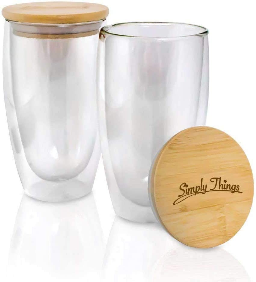 Simply Things Double Wall Insulated Borosilicate Glass Mugs with Bamboo lid, Set of 2… (16 ounce)