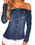 Hurrg Womens Stylish Off Shoulder Pockets Buttons Denim Jean Blouse Shirt Top 1 L