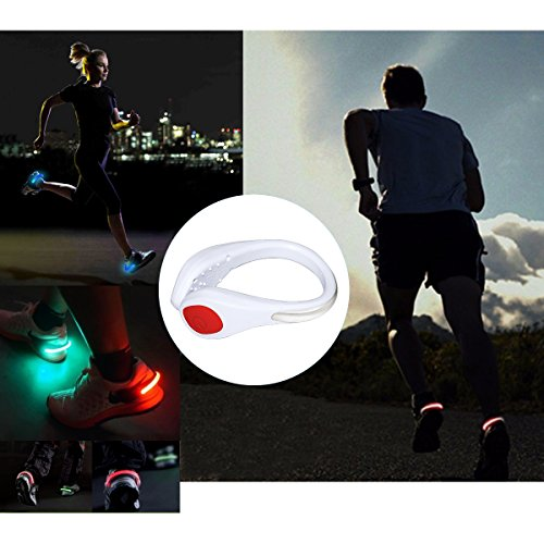 TEQIN White Shell Red LED Flash Shoe Safety Clip Lights for Runners & Night Running Gear - Reflective Running Gear for Running, Jogging, Walking, Spinning or Biking + Velvet Bag - (Set of 2) by TEQIN (Image #5)