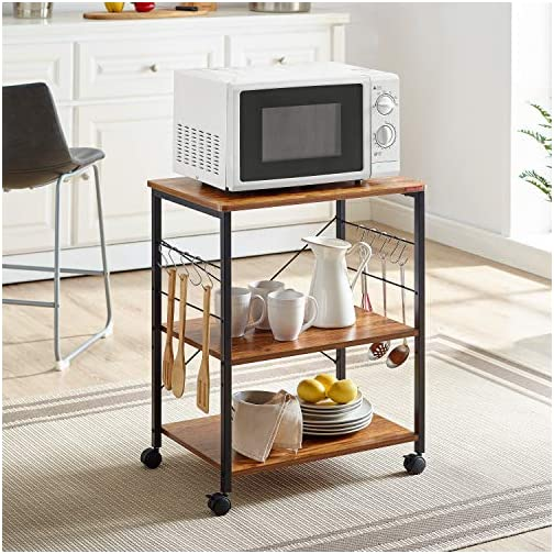 Mr IRONSTONE Kitchen Microwave Cart 3-Tier Kitchen Utility Cart Vintage Rolling Bakers Rack with 10 Hooks for Living…