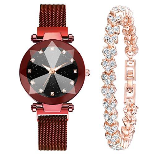 IslandseFashion Luxury Gold Bracelet Multi-Edge Dial Women's Quartz Watch Gift Set (Red)