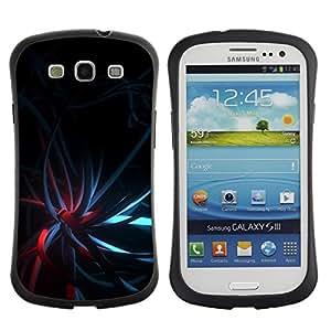 Fuerte Suave TPU GEL Caso Carcasa de Protección Funda para Samsung Galaxy S3 I9300 / Business Style Black Dark Teal Red Lights