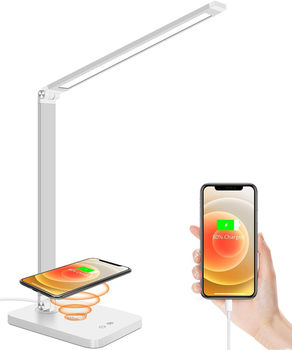 LED Desk Lamp, ZHUPIG Desk Lamp with Wireless Charger, USB Charging Port, Modern Dimmable Desk Light with 5 Color Modes & 3 Brightness Levels, Touch Control, Eye-Caring Desk Lamps for Home Office