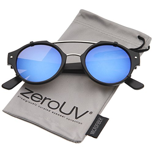 zeroUV - Modern Matte Finish Double Crossbar Mirrored Lens P3 Round Sunglasses 49mm (Black-Silver / Blue - Sunday Sunglasses Somewhere
