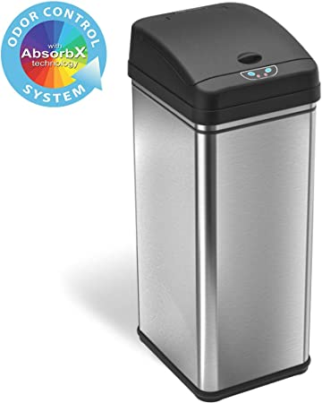 iTouchless 13 Gallon Stainless Steel Automatic Trash Can with  Odor-Absorbing Filter, Wide Opening Sensor Kitchen Trash Bin, Powered by  Batteries (not ...