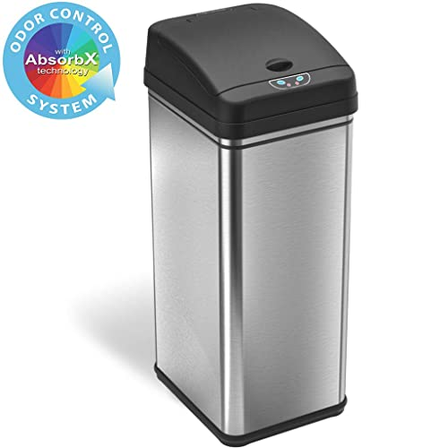 Itouchless 13 Gallon Stainless Steel Automatic Trash Can