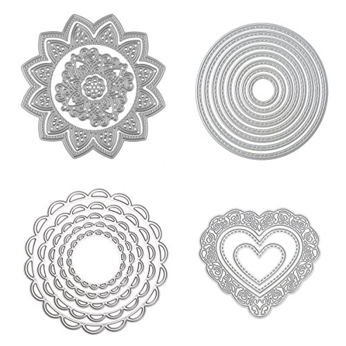 Dies Cut Cutting Die Scrapbooking for Card Making Love Heart Round Circle Flower Sunflower Nesting Metal Stencils 4set for DIY Photo Album Decorative Embossing DIY Paper (Set 4)